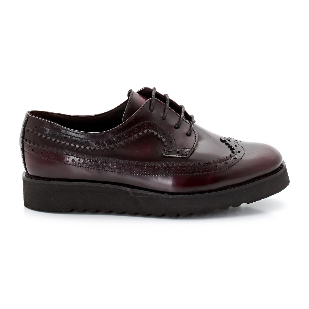 Ботинки-дерби кожаные на танкетке