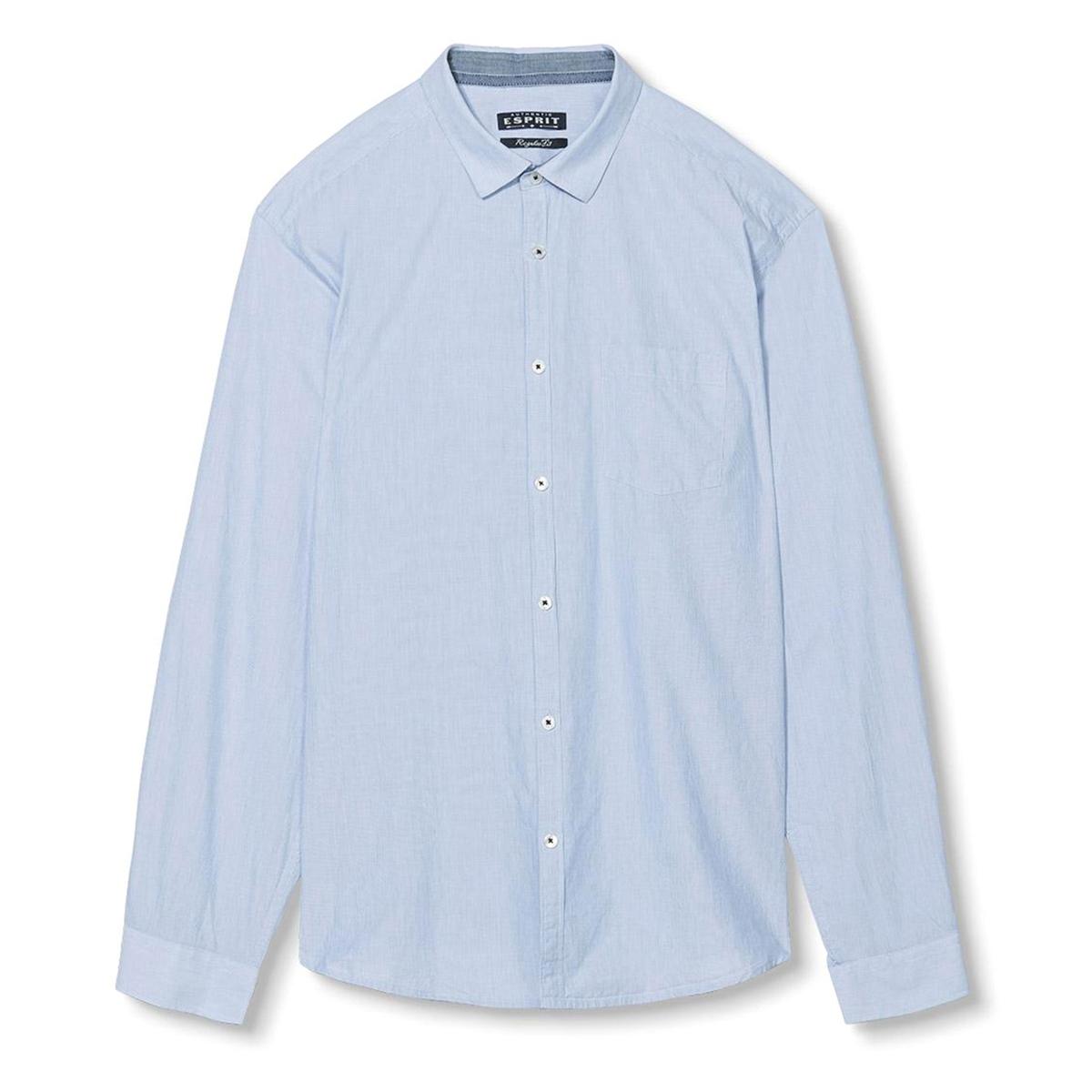 Рубашка в полоску, 100% хлопкаРубашка с длинными рукавами, ESPRIT. Прямой покрой, классический воротник. Рисунок в полоску. Манжеты на пуговицах. Состав и описание:Материал: 100% хлопка.Марка: ESPRIT.<br><br>Цвет: небесно-голубой