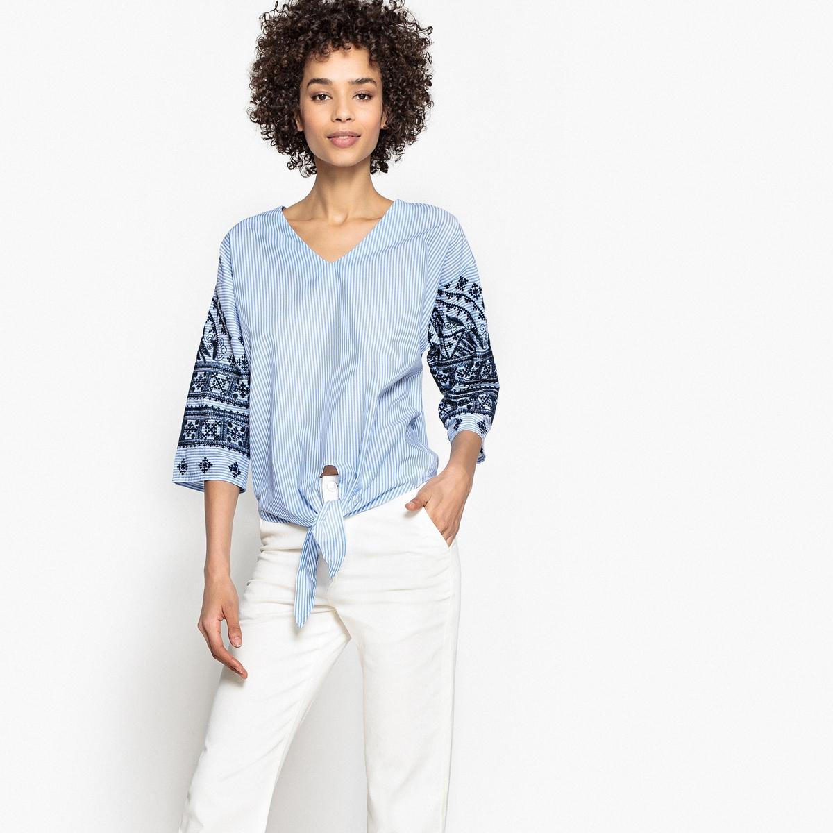 Блузка с V-образным вырезом, завязками спереди и рукавами с принтом блузка с принтом