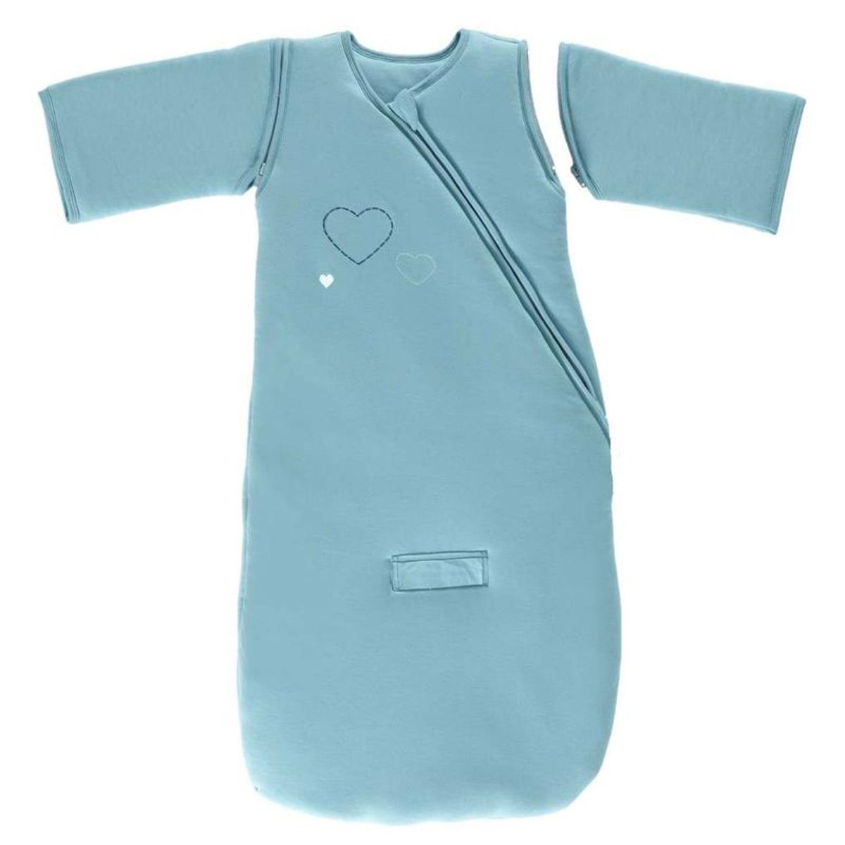 Gigoteuse manches jersey coeur coton bio 90 cm Ptit Basile bleue