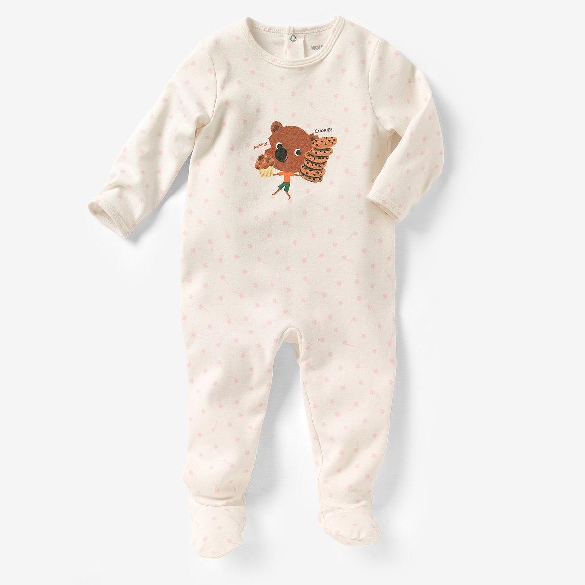 Пижама из хлопка интерлок MOUK, 0 месяцев - 3 годаПижама с носочками MOUK из хлопка интерлок с принтом спереди, 100% хлопка. Клапан на кнопках и застежка на кнопки сзади для легкости надевания. Нескользящая подошва начиная с размера 74 см (12 месяцев), эластичные вставки сзади для лучшей поддержки.<br><br>Цвет: рисунок звезда<br>Размер: 0 мес. - 50 см