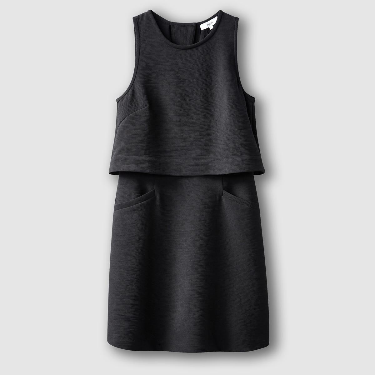 Платье короткое без рукавовПлатье короткое без рукавов 100% полиэстера  . Подкладка из 100% вискозы . Застежка на молнию и кнопки сзади  . Длина 82 см  .<br><br>Цвет: черный<br>Размер: XS