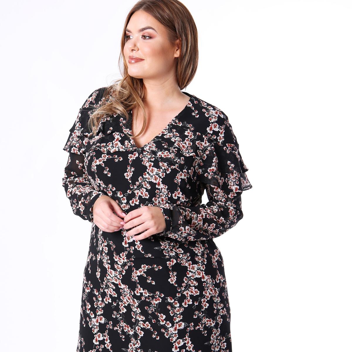 Платье с v-образным вырезом, цветочным принтом, воланами, рукава 3/4 4 3 at043tn24 v 7 at043tn24 v 1