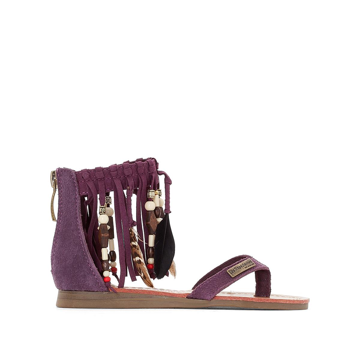 Сандалии кожаные GopakВерх : кожа и текстиль     Подкладка : синтетика     Стелька : Кожа.     Подошва : синтетика     Форма каблука : плоский каблук     Мысок : закругленный     Застежка : молния<br><br>Цвет: фиолетовый<br>Размер: 32