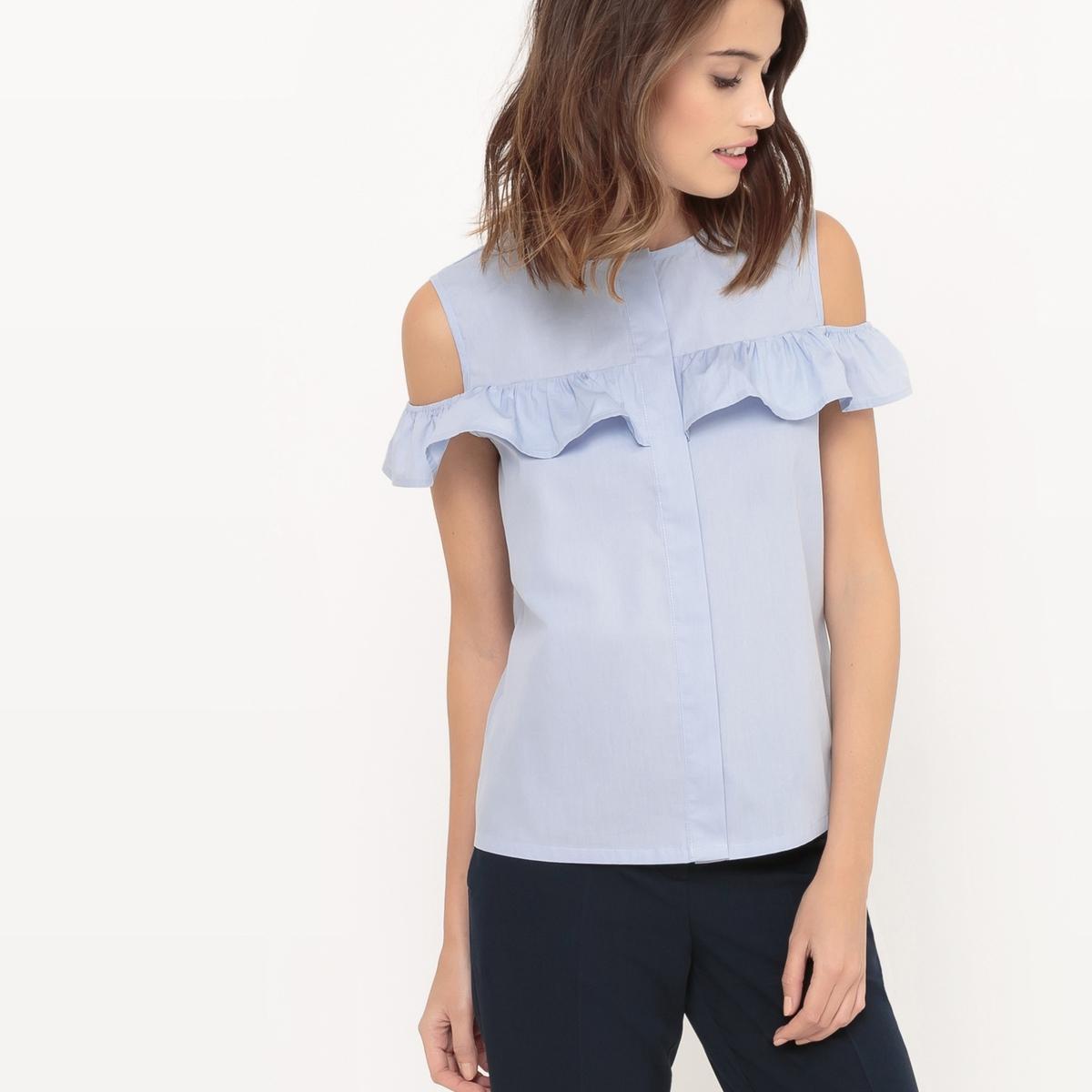 Блузка с открытыми плечами с воланами