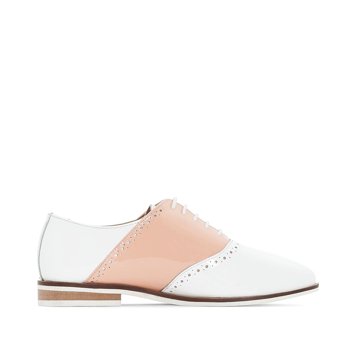 Ботинки-дерби кожаные лакированные двухцветные