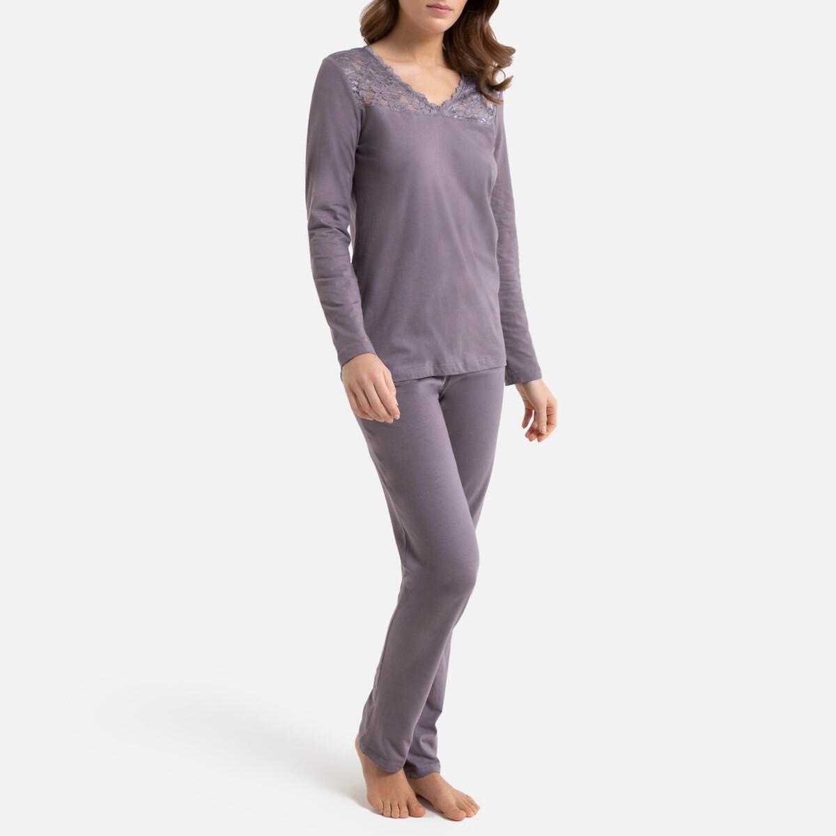 Пижама LaRedoute С длинными рукавами кружевная вставка 54/56 (FR) - 60/62 (RUS) серый пижама la redoute с шортами 54 56 fr 60 62 rus синий