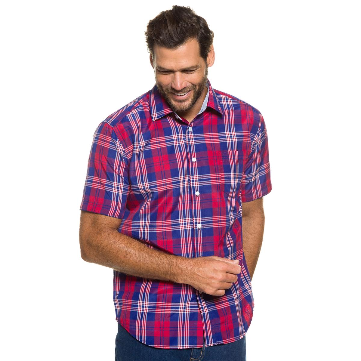РубашкаРубашка в клетку JP1880 с короткими рукавами. Воротник кент, внутренняя поверхность воротника в клетку оксфорд. Слегка приталенный покрой, рубашку можно носить навыпуск. 100% хлопок. Длина в зависимости от размера. 78-94 см<br><br>Цвет: в клетку