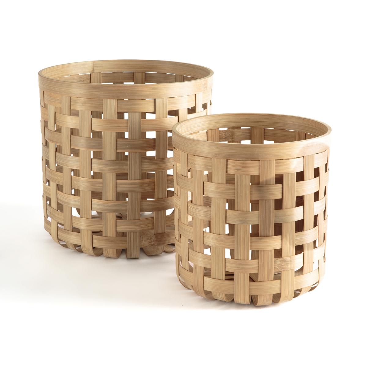 Комплект из корзин из La Redoute Плетеного бамбука Yadiel единый размер бежевый корзина la redoute x в см бамбук и плетеный ротанг brazil единый размер каштановый