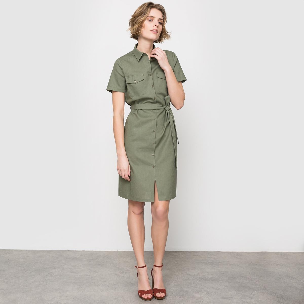 Платье в стиле сафари изо льна и хлопкаСостав и описание:Материал : 55% льна, 45% хлопкаДлина : 95 см.Уход:Машинная стирка при 30 °C с изнаночной стороныГладить с изнаночной стороныМашинная сушка запрещена<br><br>Цвет: зеленый хаки<br>Размер: 40 (FR) - 46 (RUS)