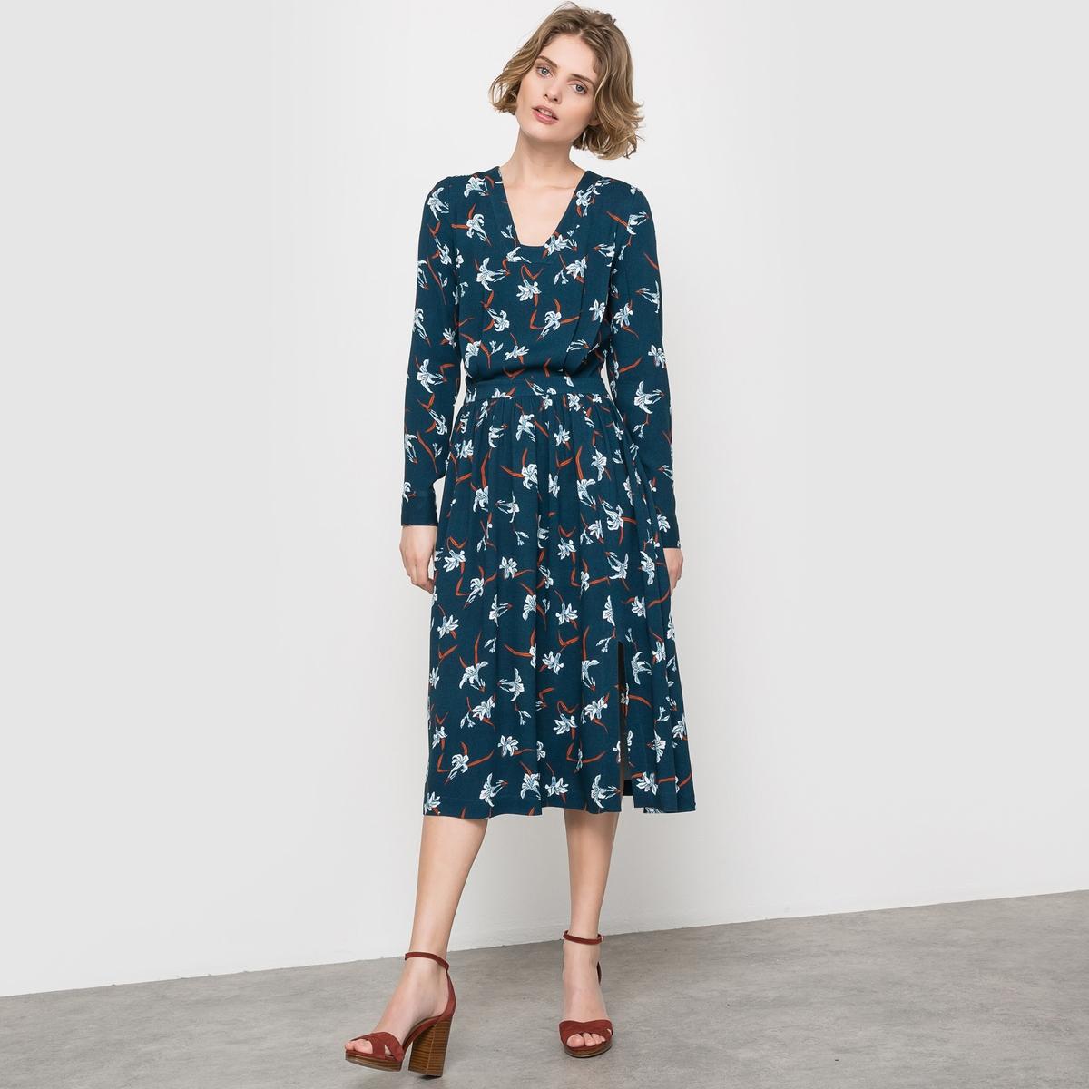 Платье длинное с рисункомСостав и описание:Материал: 100% вискозыДлина: 113 смУход:Машинная стирка при 30°С. Гладить с изнаночной стороны. Машинная сушка запрещена<br><br>Цвет: набивной рисунок<br>Размер: 40 (FR) - 46 (RUS)