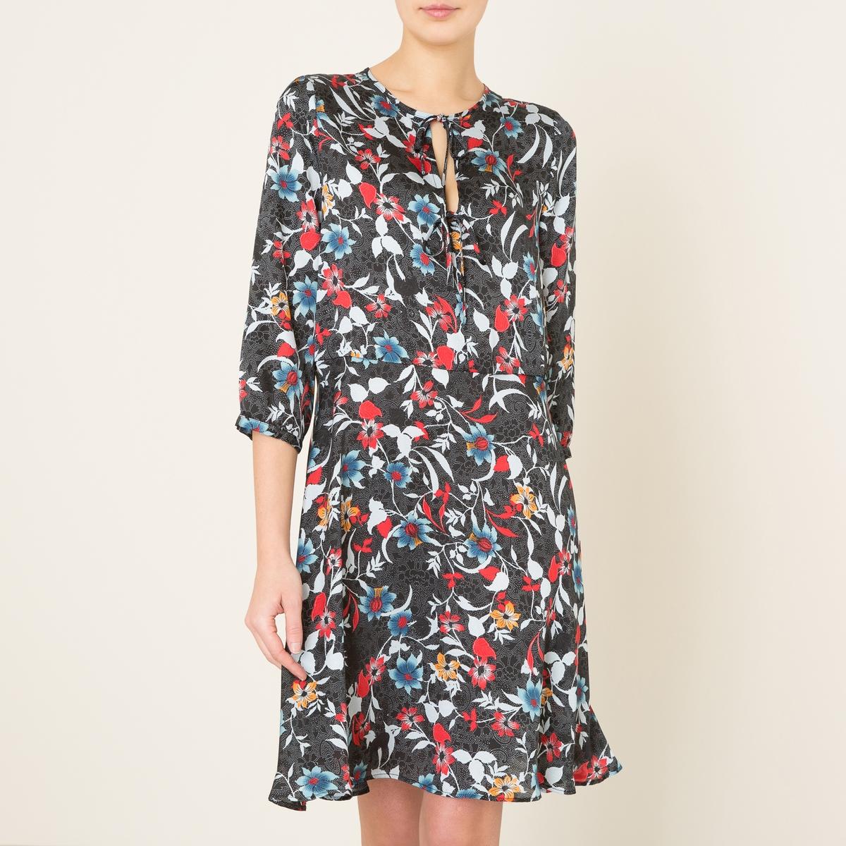 Платье DELTAСостав и описание Материал : 100% полиэстерДлина :  ок. 110 см. для размера 36Марка : LA BRAND BOUTIQUE<br><br>Цвет: рисунок черный<br>Размер: L