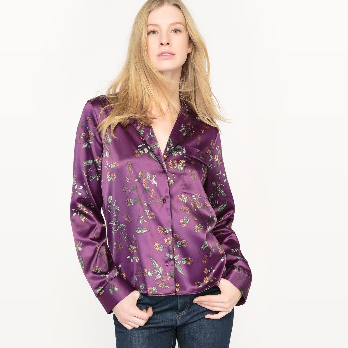 Рубашка из сатина с рисункомРубашка-пижама из сатина. Сплошной принт в японском стиле. Длинные рукава.  V-образный вырез с отворотом. Застежка на пуговицы. 1 нагрудный карман. Тонкая контрастная окантовка кармана, манжет и края выреза. Состав и описаниеМатериал : 96% полиэстера, 4% эластанаДлина : 62 смМарка :      R ?ditionУход Машинная стирка при 30 °C в деликатном режиме Стирать с вещами схожих цветовМашинная сушка при умеренной температуреГладить при низкой температуре с изнаночной стороны<br><br>Цвет: фиолетовый наб. рисунок<br>Размер: 46 (FR) - 52 (RUS).40 (FR) - 46 (RUS)