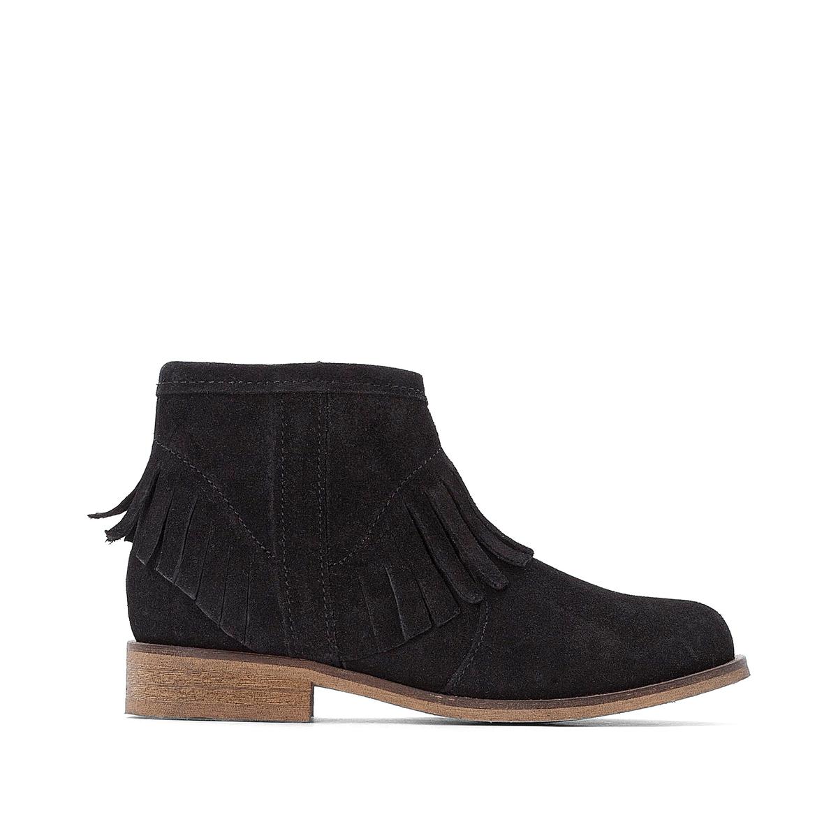 Ботинки La Redoute Кожаные с бахромой - 39 черный