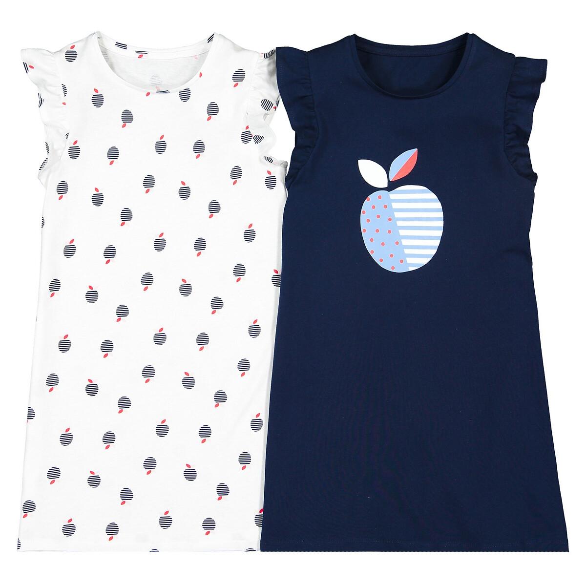 Комплект из 2 ночых рубашек LaRedoute Из биохлопка 3-12 лет 4 года - 102 см белый