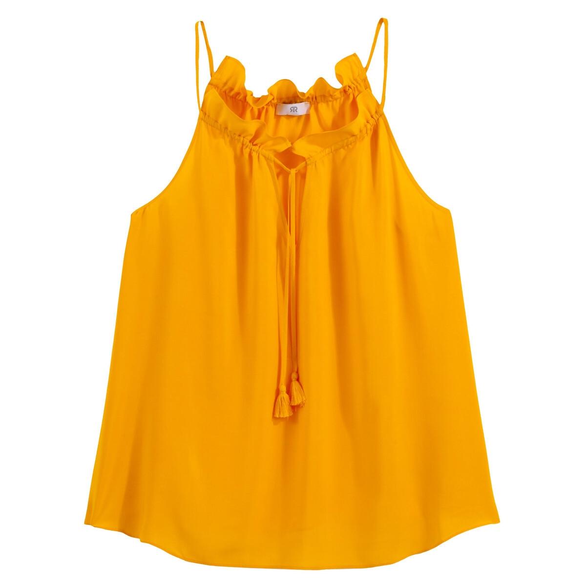 Блузка La Redoute Струящаяся с круглым вырезом без рукавов 42 (FR) - 48 (RUS) желтый блузка la redoute с круглым вырезом без рукавов 50 fr 56 rus черный
