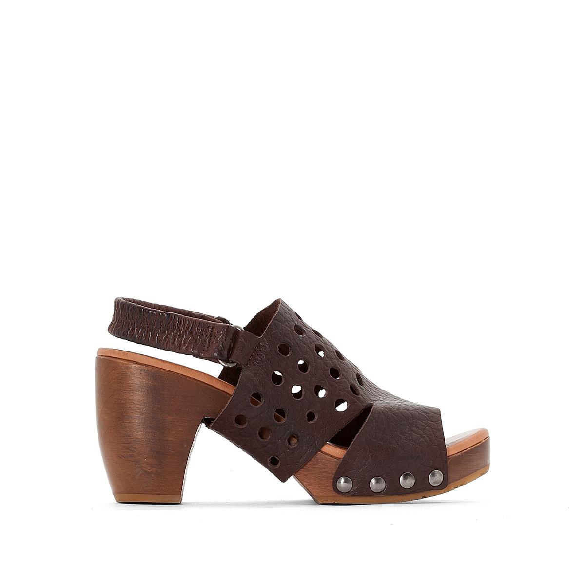 Босоножки кожаные DelinaВерх : кожа   Подкладка : кожа   Стелька : кожа   Подошва : резина   Высота каблука : 8 см   Форма каблука : квадратный каблук   Мысок : открытый мысок   Застежка : без застежки<br><br>Цвет: темный каштан<br>Размер: 39