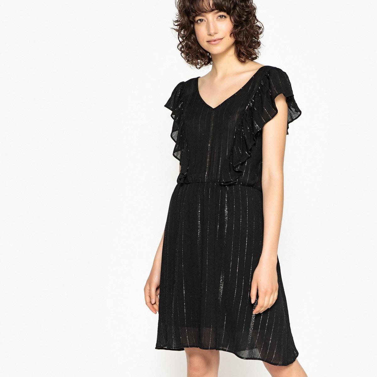 Korte jurk zonder mouwen in crêpe met metallic draad
