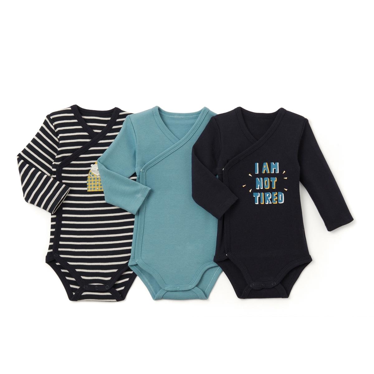 Комплект из 3 хлопковых боди для малышейДетали •  Рисунок-принт •  Для новорожденных •  Длинные рукава  •  ХлопокСостав и уход •  100% хлопок  •  Температура стирки 40°  • Низкая температура глажки / не отбеливать     • Барабанная сушка на слабом режиме       • Сухая чистка запрещена<br><br>Цвет: темно-синий + синий<br>Размер: 0 мес. - 50 см.6 мес. - 67 см.1 мес. - 54 см