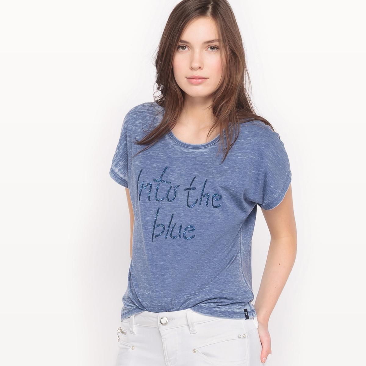 Футболка OCELIA BLUEФутболка OCELIA BLUE от FREEMAN T . PORTER.. Футболка из хлопка деворе . Оригинальный блестящий принт синего цвета .Состав и описание :Материал : 50% хлопка, 50% полиэстераМарка : FREEMAN T. PORTER.<br><br>Цвет: синий<br>Размер: S