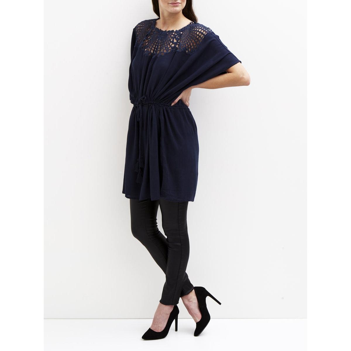 Платье с короткими рукавами и вышивкой, VILA VIBODOIR TUNICСостав и описание :Материал : 100% вискозыМарка : VILA<br><br>Цвет: синий морской<br>Размер: M.S