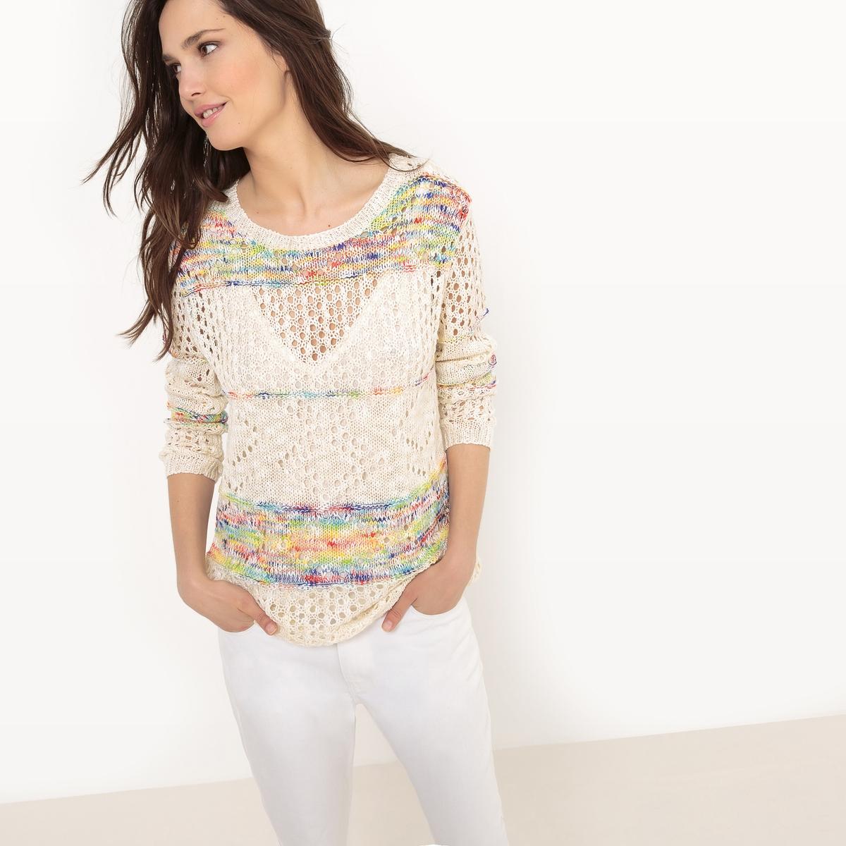 Пуловер из ажурного трикотажаМатериал : 50% акрила, 50% полиэстера  Длина рукава : длинные рукава  Форма воротника : круглый вырез  Покрой пуловера : стандартный  Рисунок : однотонная модель<br><br>Цвет: слоновая кость