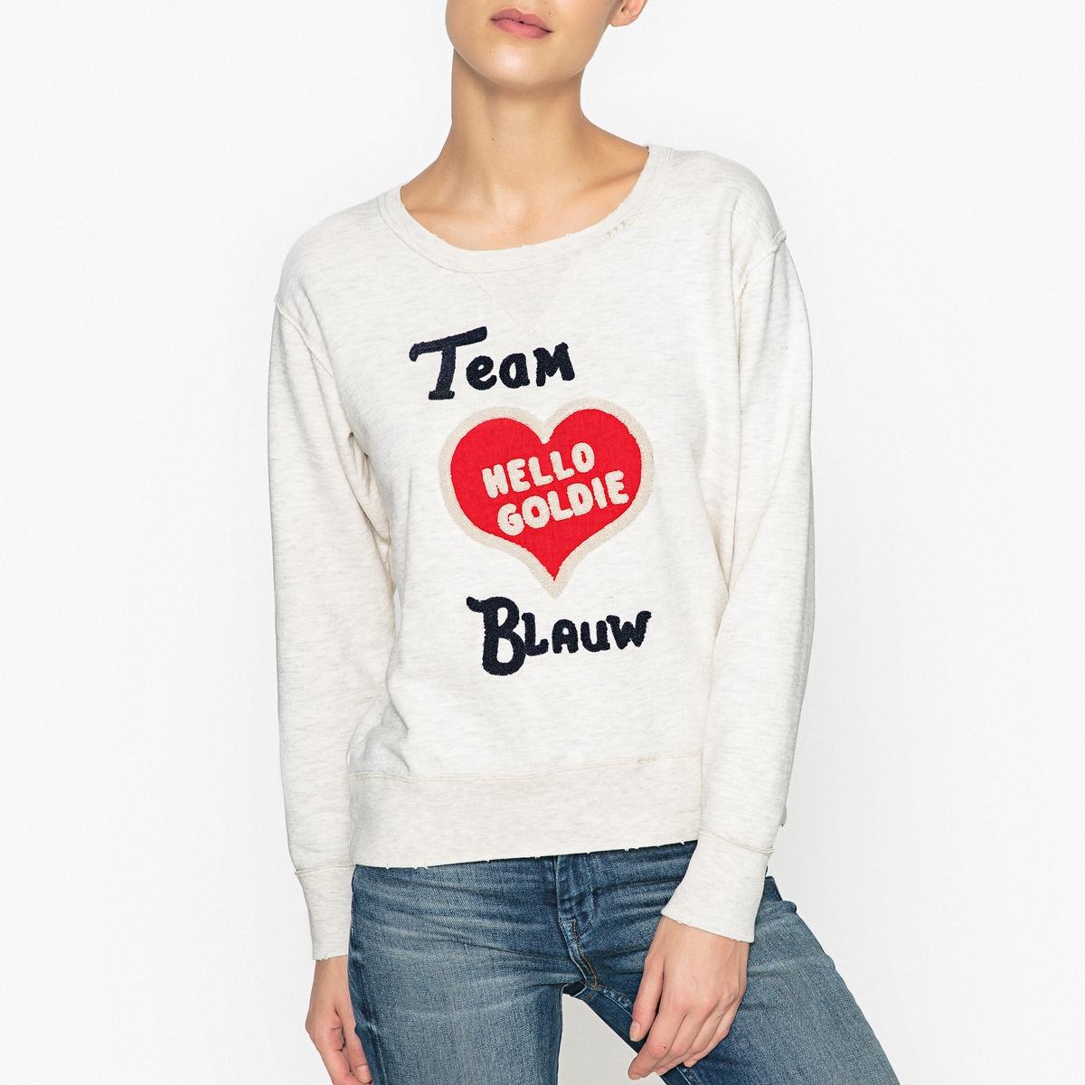 Свитшот с сердцем спереди и надписью из букле maison scotch футболка с длинными рукавами