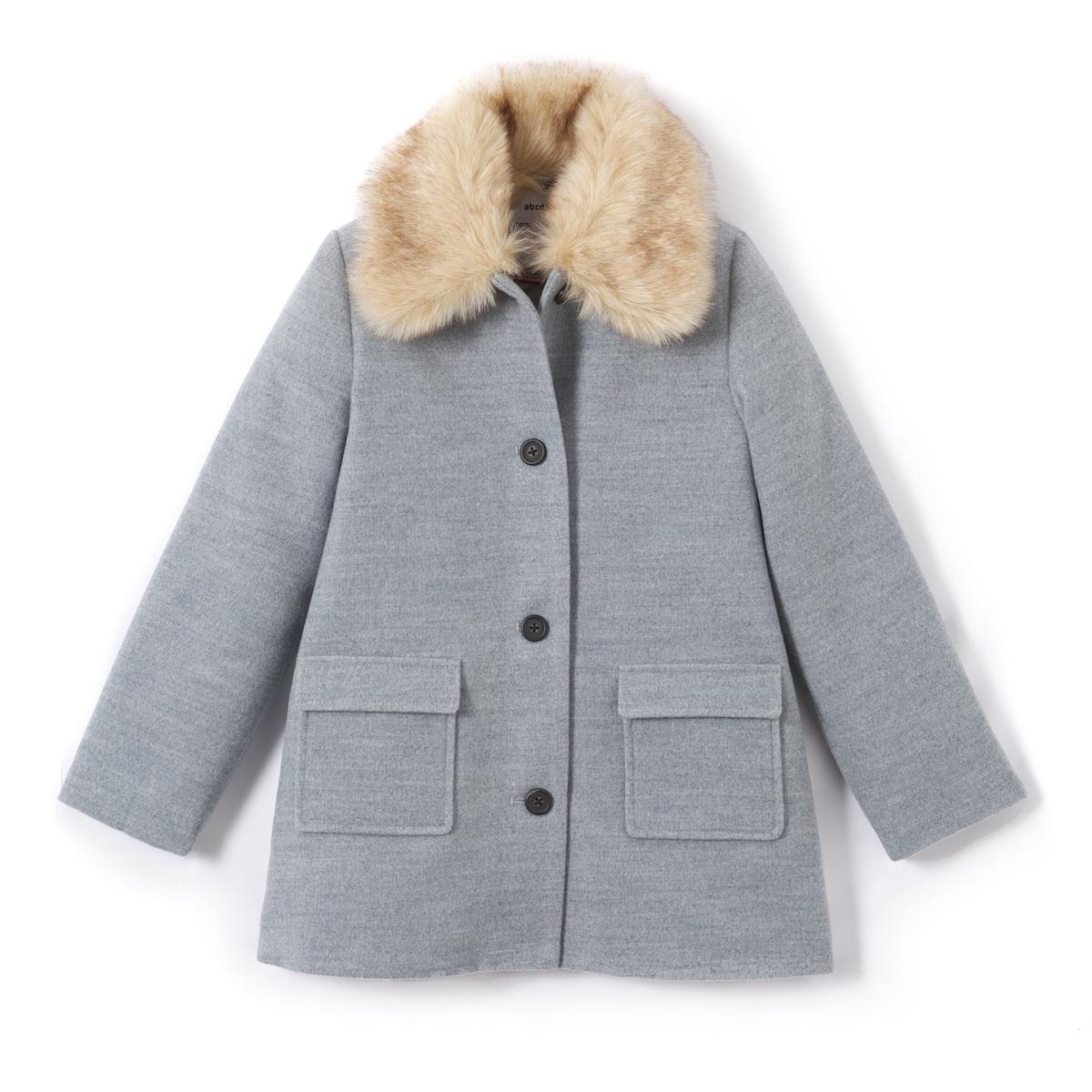Пальто с воротником из искусственного меха, 3-12 лет
