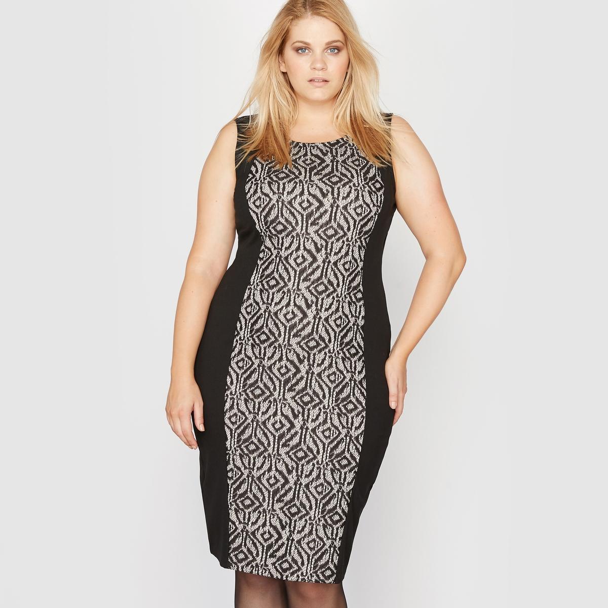 Фото Платье без рукавов из двух материалов. Купить с доставкой