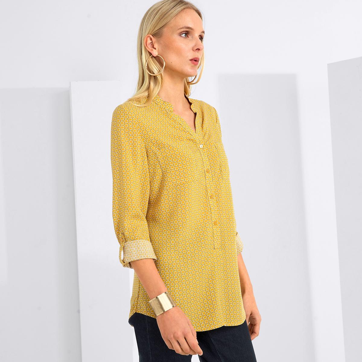 Imagen principal de producto de Blusa estampada con cuello de pico y tejido vaporoso - Anne weyburn