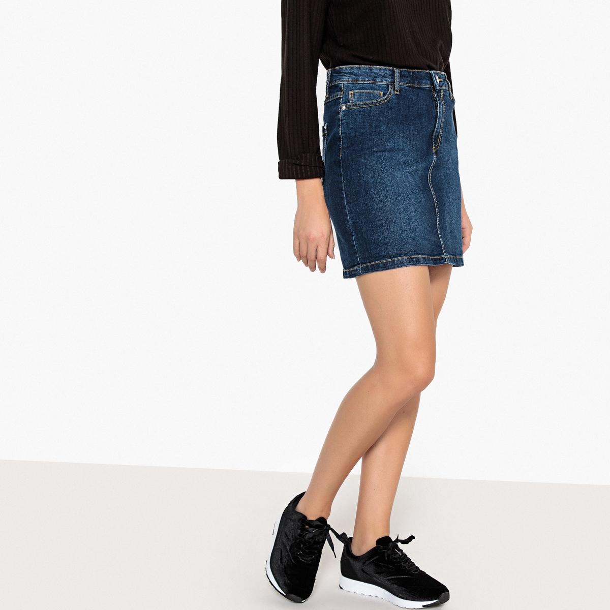 Юбка La Redoute Короткая прямая из джинсовой ткани 34 (FR) - 40 (RUS) синий цена