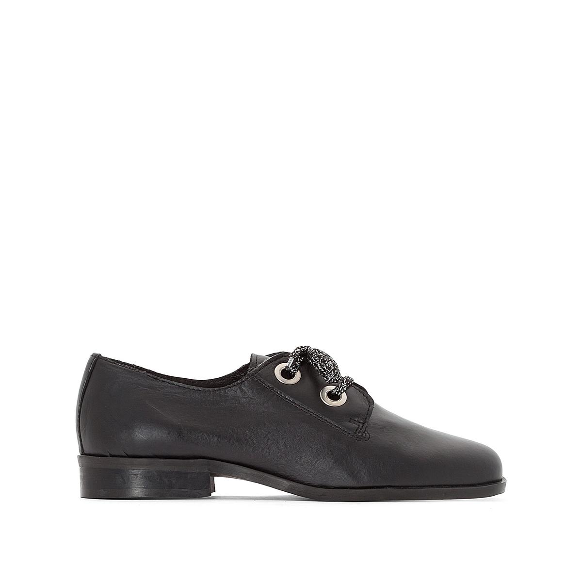 Ботинки-дерби кожаные черные с оригинальным бантом