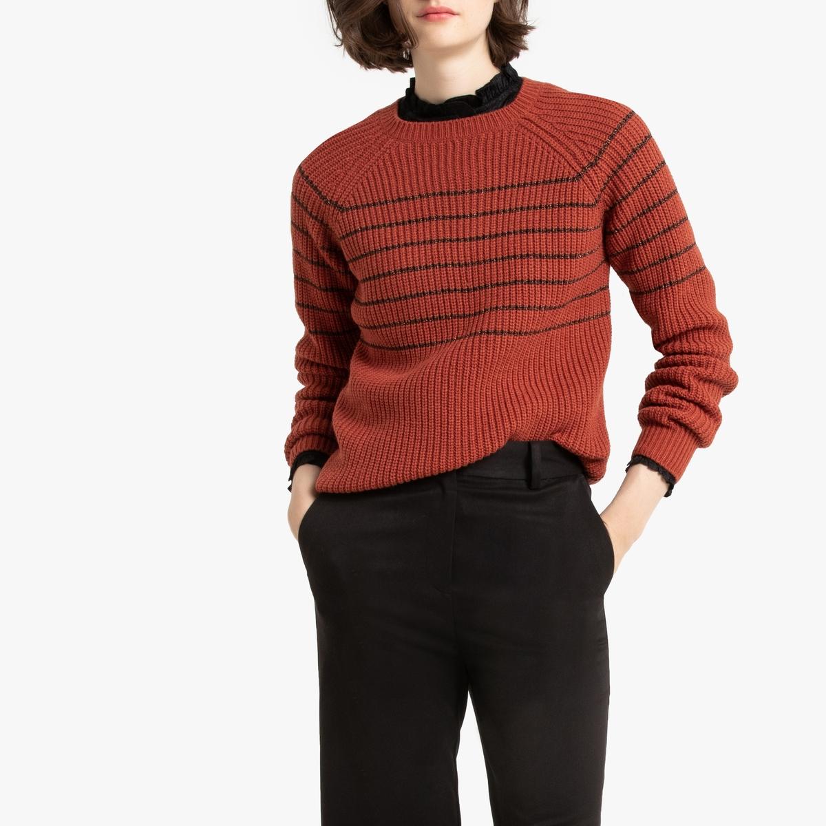 цена Пуловер La Redoute С круглым вырезом в полоску из плотного трикотажа L красный онлайн в 2017 году