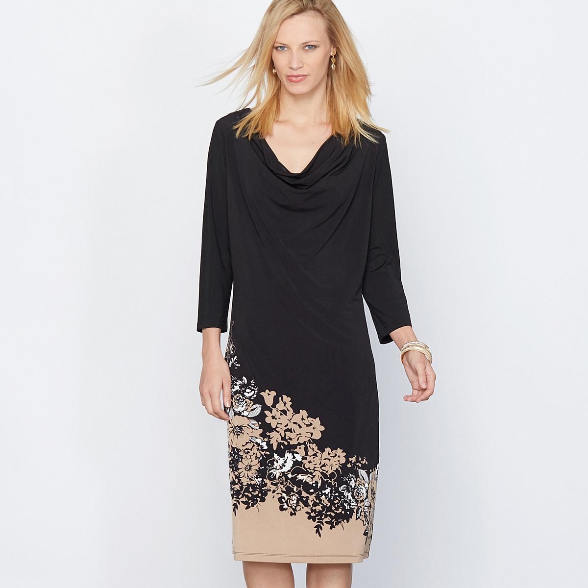 Платье с рисунком, креповый трикотаж