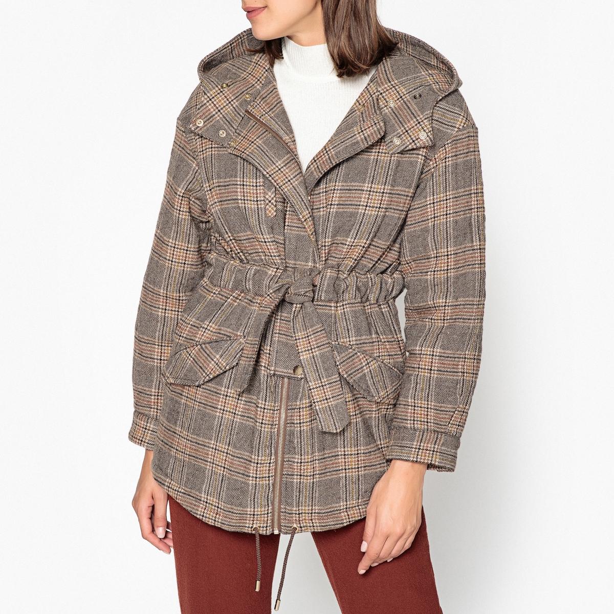 Пальто с капюшоном в клетку COX