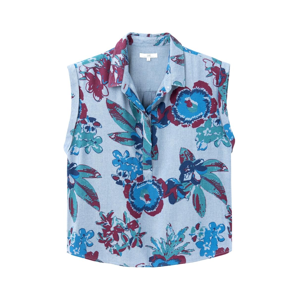 Camisa corta con estampado de flores, sin mangas