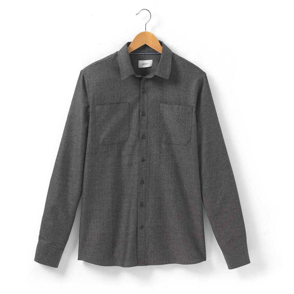 Рубашка однотоннаяОднотонная рубашка с длинными рукавами SOFT GREY. Свободные края воротника. 2 накладных нагрудных кармана. Застежка на пуговицы. Манжеты с застежкой на пуговицы. Длина 77 см. Рубашка, 100% хлопка.<br><br>Цвет: серый<br>Размер: 37/38