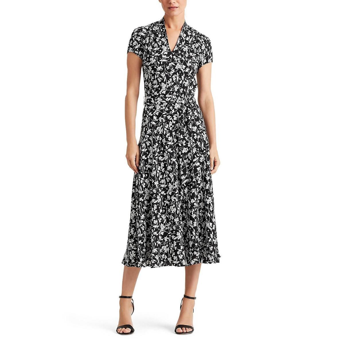 Платье-миди La Redoute С принтом L черный gucci розовое платье с расклешенным подолом