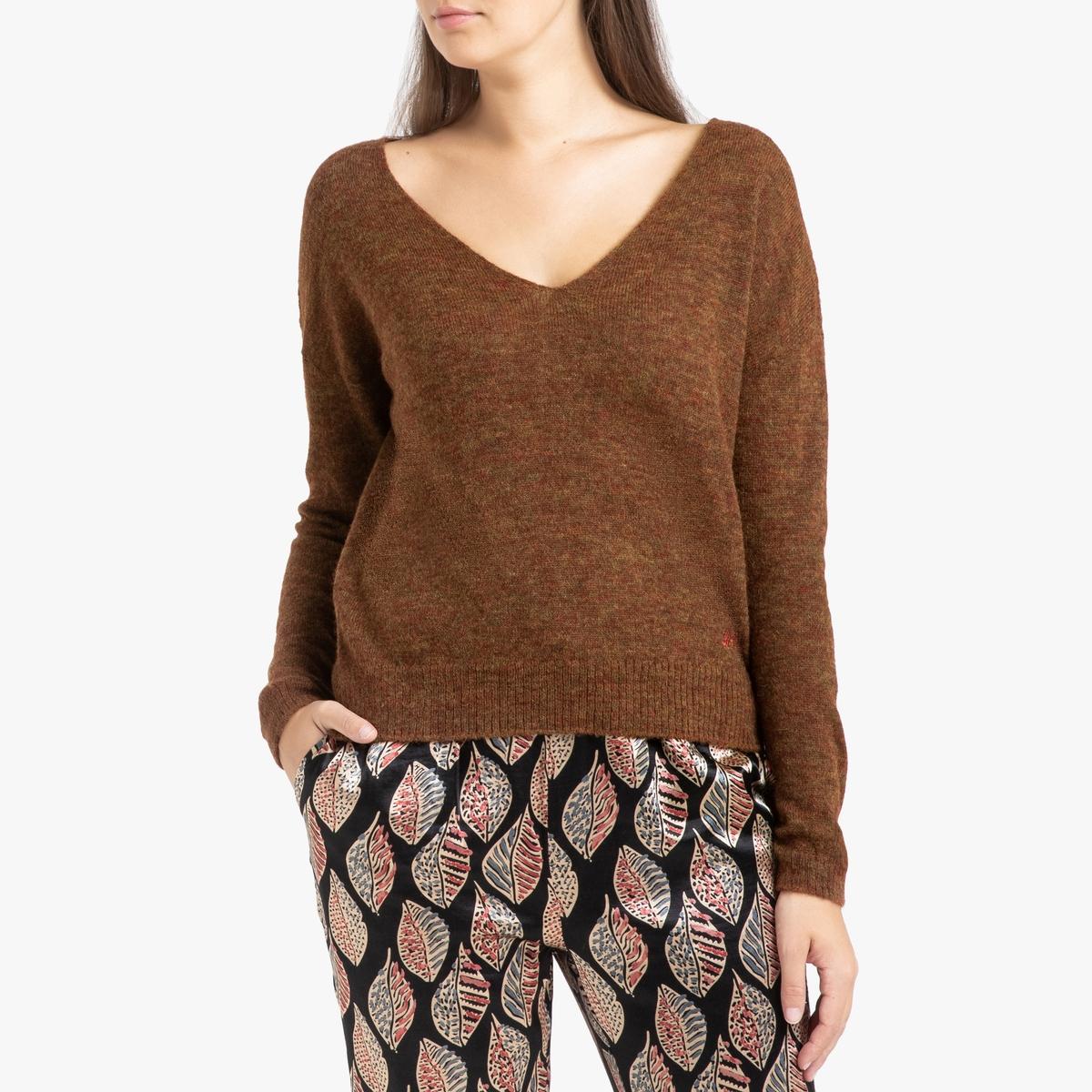 цена Пуловер La Redoute С V-образным вырезом из тонкого трикотажа NOPALES M желтый онлайн в 2017 году