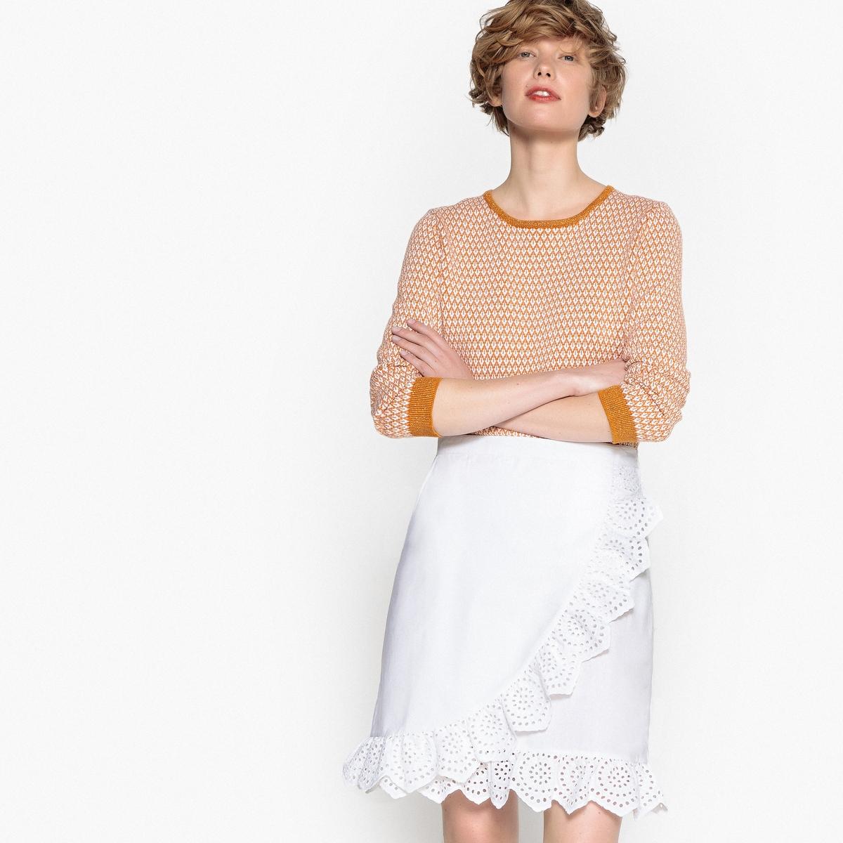 Юбка-миди с запахом и воланами юбка миди цвет персиковый c h i c