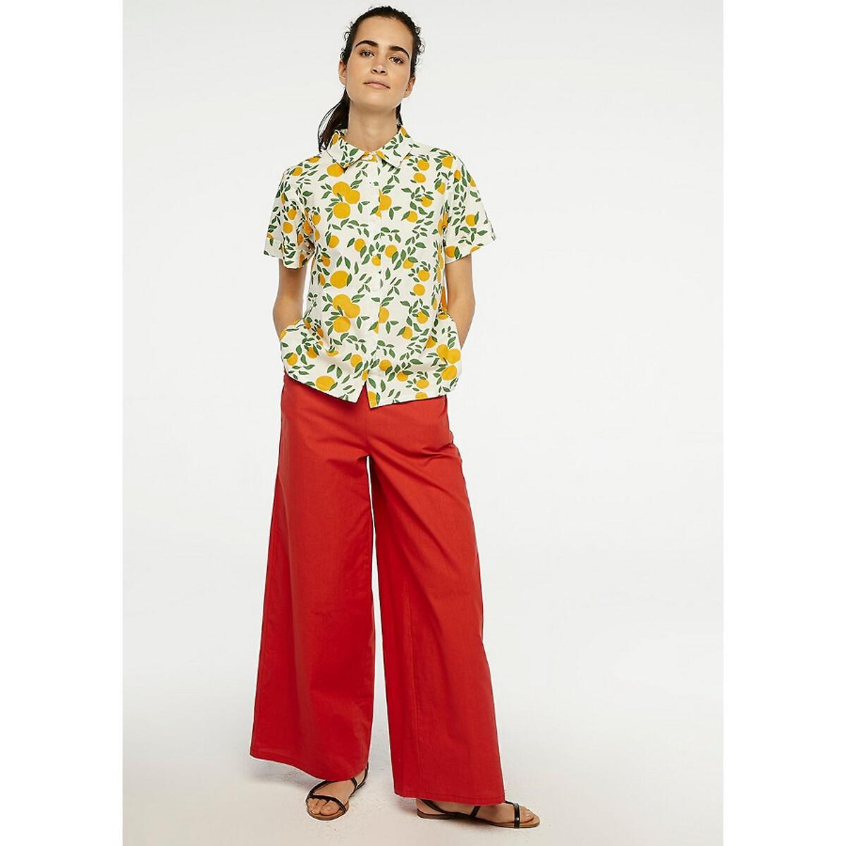 Рубашка La Redoute С короткими рукавами и цветочным рисунком из хлопка S белый цена 2017
