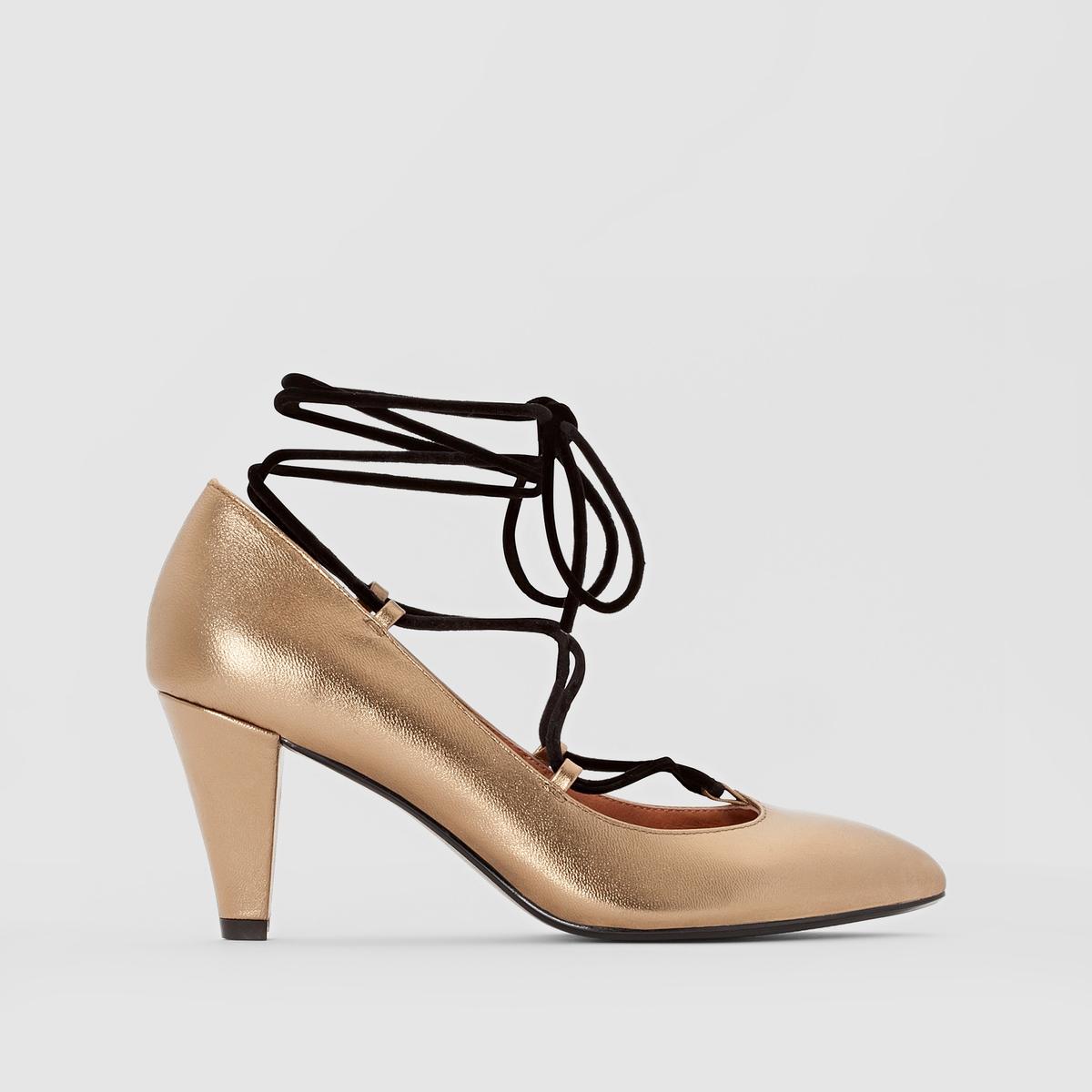 Туфли на шнуровкеПодкладка : кожа                     Стелька : кожа                     Подошва : эластомер                     Высота каблука : 8 см                     Форма каблука : высокий каблук                     Мысок : заостренный мысок                     Застежка : шнуровка<br><br>Цвет: бронзовый<br>Размер: 41.40.36
