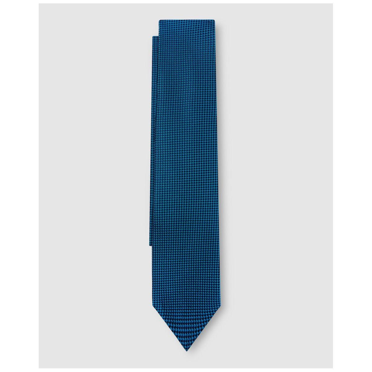 Cravate en soie microimprimé à carreaux