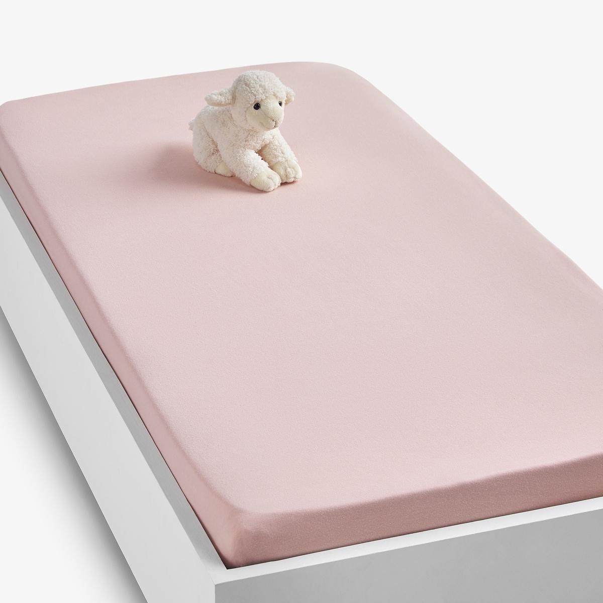 Простыня LaRedoute Натяжная из джерси 100 хлопок Scnario 60 x 120 см розовый
