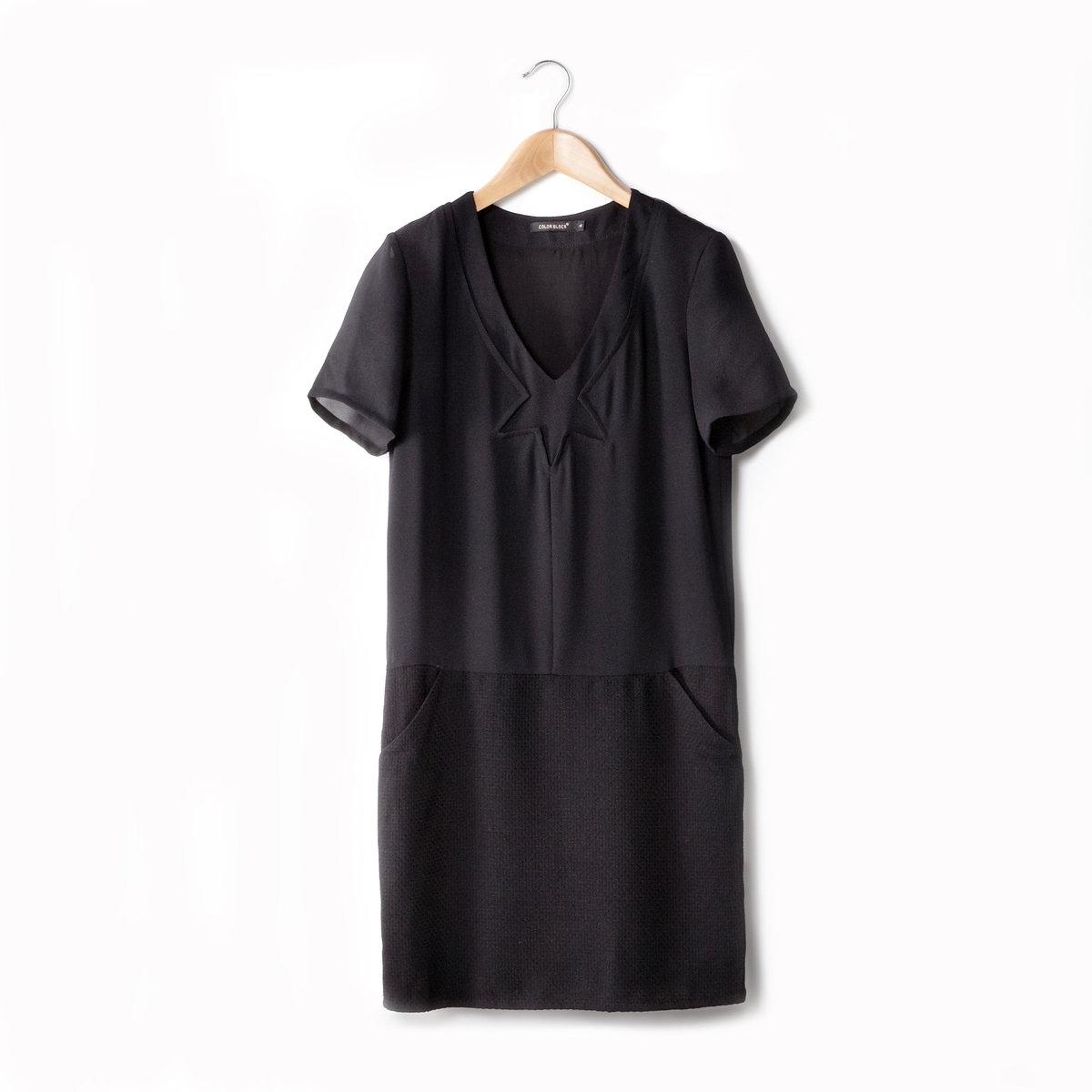 Платье из двух материалов с короткими рукавамиВНИМАНИЕ! Платье цвета белый/розовый по факту однотонное, целиком розового цвета.<br><br>Цвет: черный<br>Размер: S