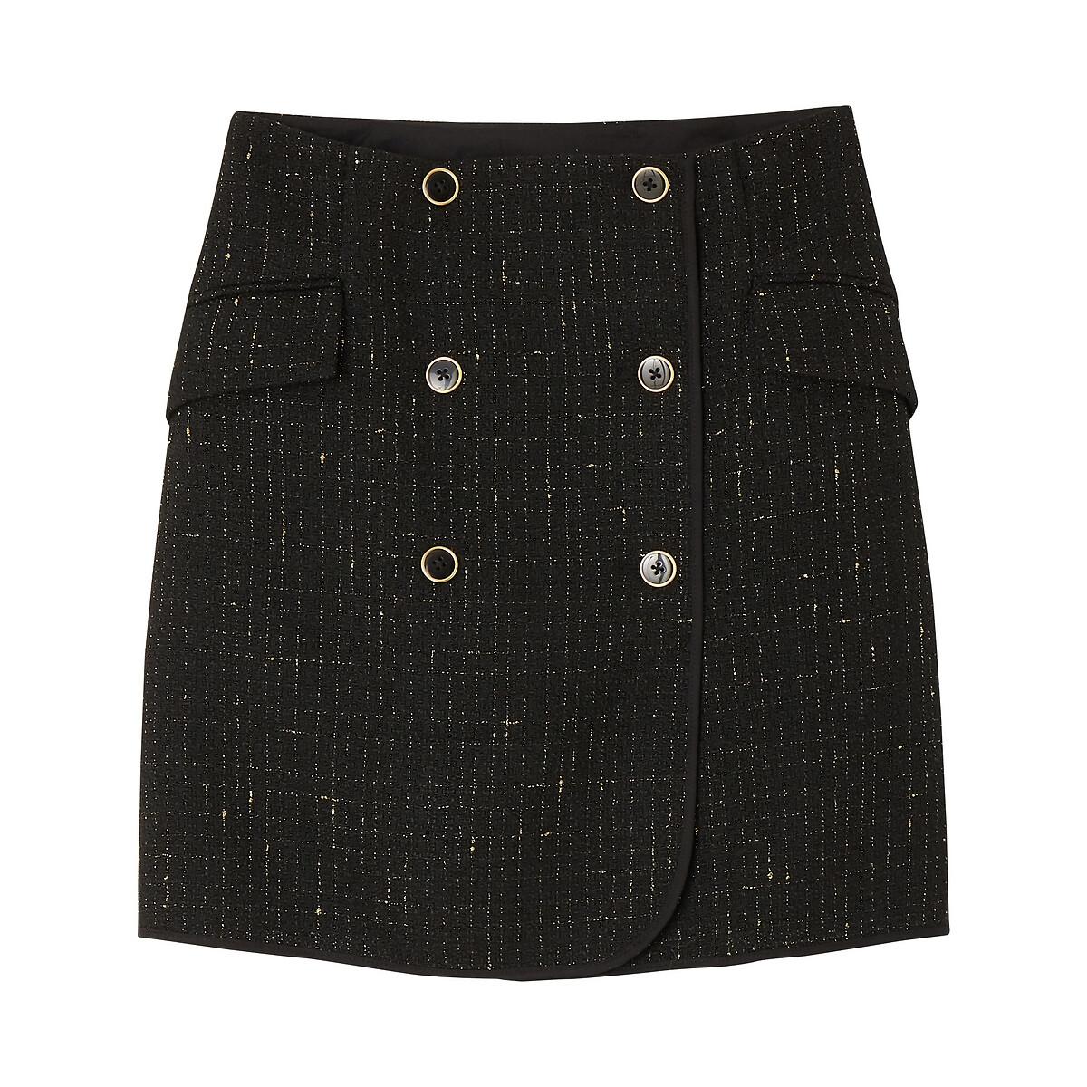 Jupe portefeuille courte  en tweed