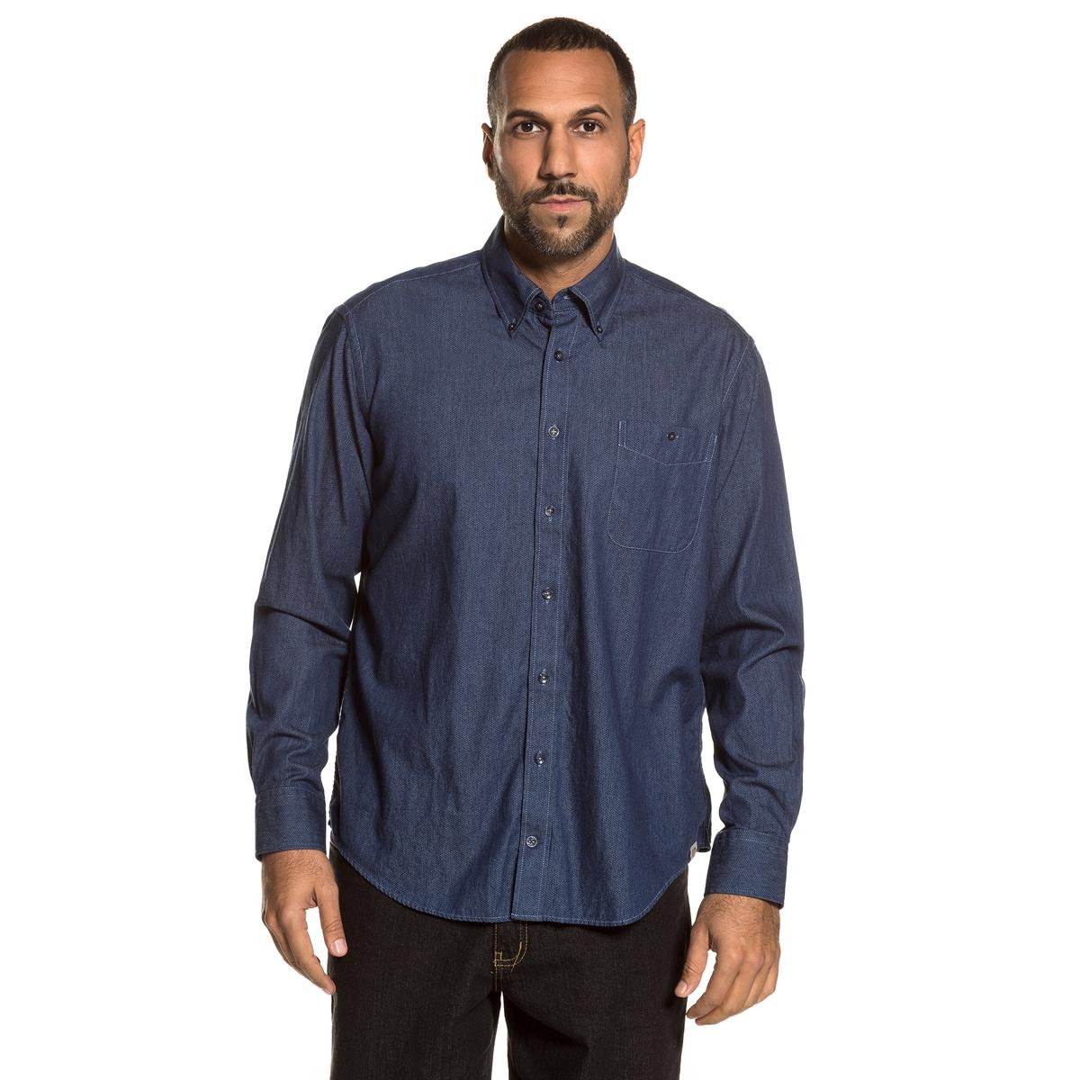 Рубашка однотонная с длинными рукавамиОписание:Детали •  Длинные рукава •  Прямой покрой  •  Классический воротникСостав и уход •  100% хлопок •  Следуйте советам по уходу, указанным на этикеткеТовар из коллекции больших размеров<br><br>Цвет: выбеленный<br>Размер: 7XL