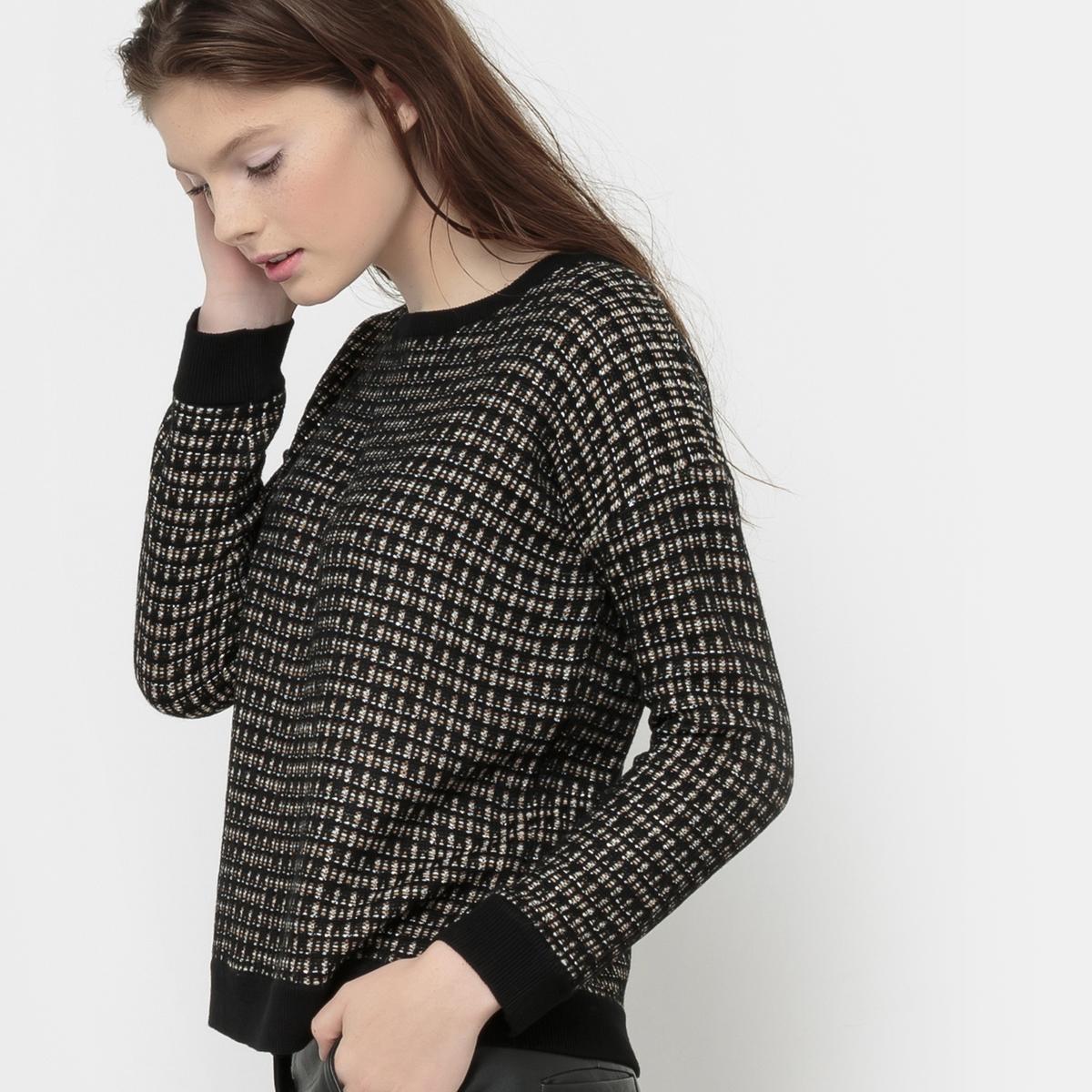 Пуловер с круглым вырезом и волокнами с металлическим блеском MISTIC MISTICСостав и описаниеМарка : KARL MARC JOHNМатериал : 82% вискозы, 15% акрила, 3% волокон с металлическим блеском<br><br>Цвет: черный<br>Размер: M