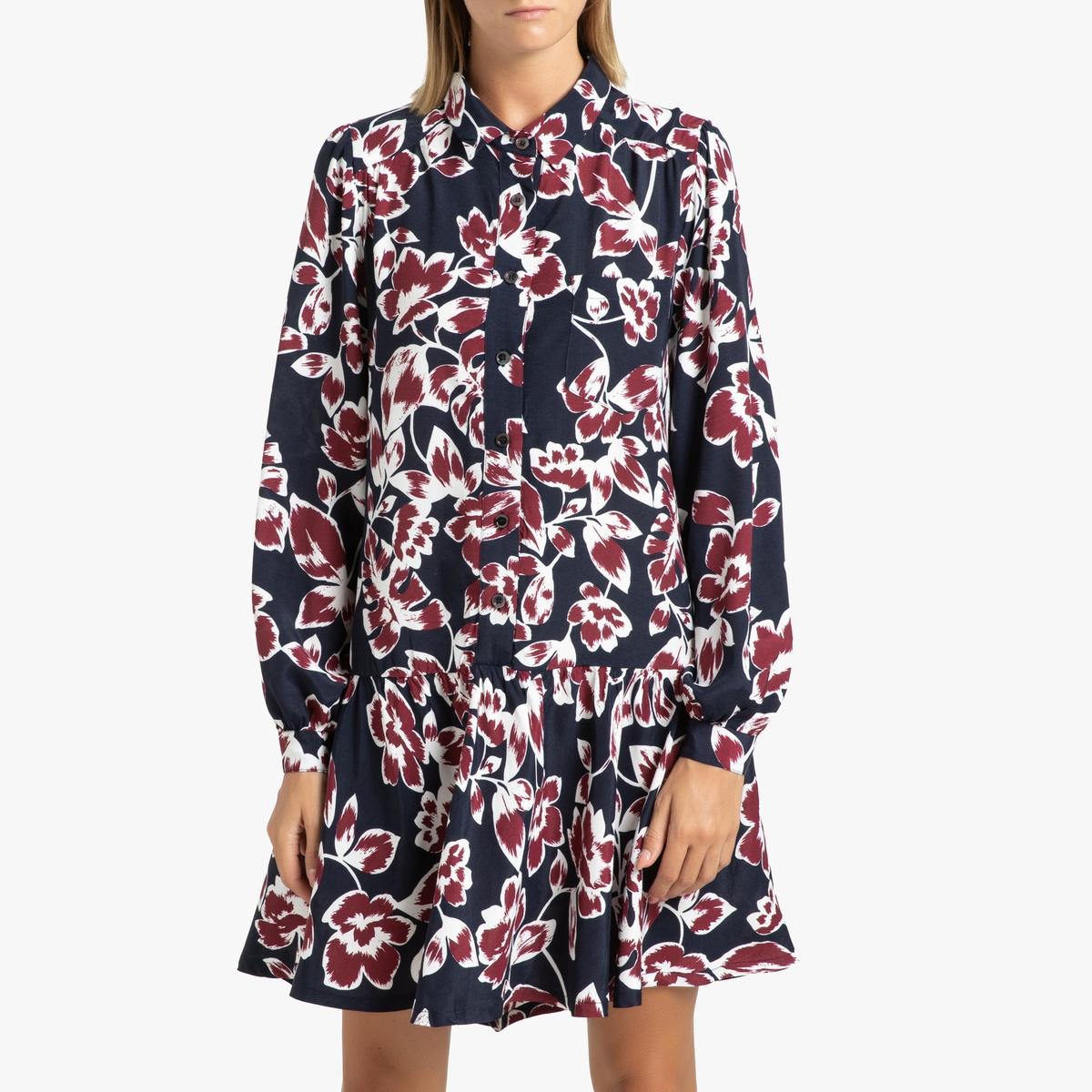 Платье La Redoute Короткое с цветочным принтом ABRA L синий