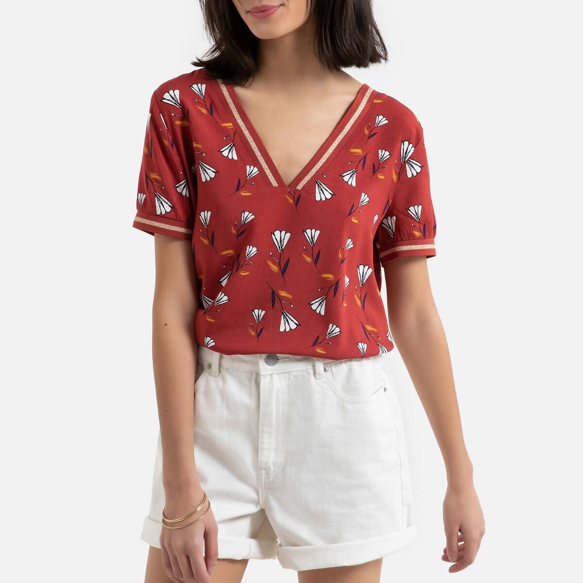 Блуза La Redoute С короткими рукавами цветочным принтом и V-образным вырезом 34 (FR) - 40 (RUS) каштановый рубашка la redoute струящаяся с цветочным принтом и длинными рукавами 34 fr 40 rus фиолетовый